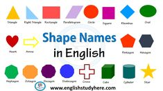 Shape Names - Shape Vocabulary in English - English Study Here English Study, Learn English, English English, English Vocabulary, English Grammar, Geometry Angles, Shape Names, Right Triangle, Shapes For Kids