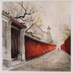 Watercolor Painting - Hutong and the White Stupa Temple, Beijing City Painting, 3d Painting, Chinese Painting, Watercolor Paintings, Chinese Buildings, Chinese Architecture, Watercolor City, Watercolor Illustration, Watercolour