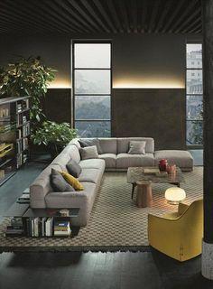 POLIFORM: Wall System bookcase, Bigger small table, Santa Monica lounge armchair, Dama coffee table, Paris-Seoul sofa and Paris-Seoul side tables