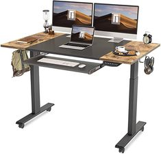 Amazon.com: FEZIBO Dual Motor Height Adjustable Electric Standing Desk with Keyboard Tray, 55 x 24 Inch Sit Stand Table with Splice Board, Black Frame/Rustic Brown and Black Top: Kitchen & Dining Desk With Keyboard Tray, Electric Standing Desk, Watch Room, Adjustable Height Desk, Drawer Design, Black Lamps, Fabric Shades, Herman Miller, Steel Frame