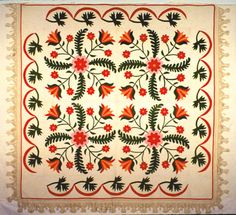Peonie and Feathers Ilinois State museum Antique Quilts, Vintage Quilts, Barn Quilts, Appliqué Quilts, Geometric Quilt, American Quilt, Green Quilt, Quilt Border, Hand Applique
