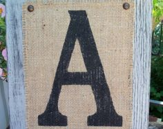 Burlap monogram LETTERS your choice custom by SophiasSignBoutique