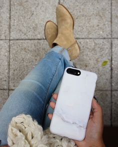 Layered up ⛄️ #ootd #booties Marble Case in Ivory on Jet Black 7 Plus. Available for iPhone 7 & iPhone 7 Plus from Elemental Cases