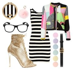 """""""Happy dress eyeglasses black colors gold babypink jacket"""" by abeer111 on Polyvore featuring Moschino, Gianvito Rossi, Deborah Lippmann, Henri Bendel, RAJ and Gucci"""