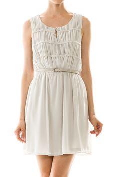 Solid Chiffon Sleeveless Dress