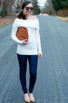 Off-the-Shoulder Sweater & Denim