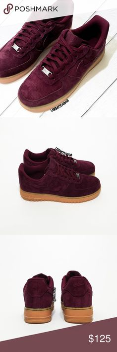 Nike 'Cold Burgundy' Air Force 1 '07 Suede Sneaker ‼️Priced upon rarity. If you leave a rude comment about the price, you will be BLOCKED!  NO TRADES  Take a break from a Roshe with these pro sneakers in a perforated deep-purple-red suede & caramel brown midsole on free cushioning Air tech for max impact protection.   Info - Suede, mixed, rubber - Spot clean - Imported - Runs 2/3 size large; Fits 9 with socks, fits 9.5 without socks  NOTE:  - Box has no lid - Pics 1-3 photographed by me…