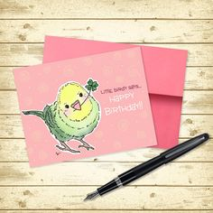 Happy #Budgie Birthday! #parakeet #birthdaycard