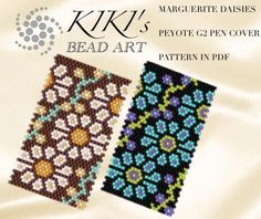 Peyote pen cover patterns Marguerita daisies peyote patterns