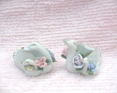 Pair Vintage Ceramic Swans with Babies Birds Trinket Holders Pink & Blue 3-D Roses Gold Trim Shabby Chic Victorian Cottage Ornate Paris - Edit Listing - Etsy