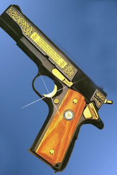 gun colt 45 1911 gold inlay