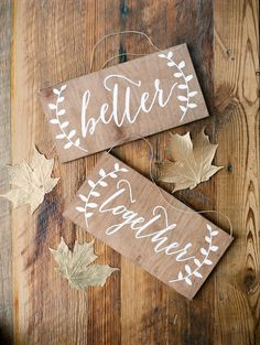Mr and Mrs Chair Signs - Better Together - Wooden Wedding Signs - Wood Wedding Chair Signs, Wedding Chair Decorations, Wooden Wedding Signs, Wedding Chairs, Rustic Wedding, Wedding Signage, Fall Decorations, Mr And Mrs Wedding, Our Wedding