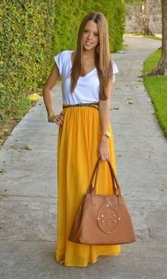 simple white tee with belted maxi skirt. love the color!