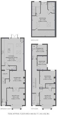 Check out this property for sale on Rightmove! Narrow Kitchen Extension, Kitchen Extension Terraced House, 1930s House Extension, Brick Extension, House Extension Plans, Extension Ideas, Side Extension, Modern Floor Plans, Kitchen Floor Plans