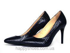 """Классические туфли на шпильке из темно-синей фактурной кожи с лаковым блеском: продажа, цена в Запорожье. туфли женские от """"HappyShoes"""" - 224740776"""