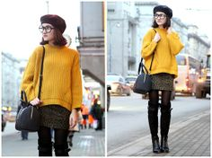 Pull And Bear Sweater, H&M Mimi Skirt, Balzanelli Over The Knee Boots, Dkny Bag, Jeepers Peepers Glasses