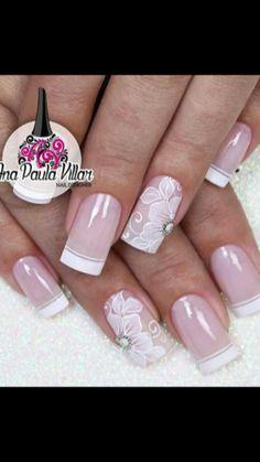 French Nail Art, French Nail Designs, Nail Art Designs, Sexy Nails, Fancy Nails, Pretty Nails, Wedding Nails For Bride, Wedding Nails Design, Fingernail Designs