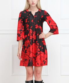 Love this Black & Red Floral Button-Front Shift Dress on #zulily! #zulilyfinds