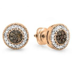 Share and get $20 off your order of $100 or more. 0.55 Carat (ctw) 14K Rose Gold Round Cut White & Champagne Diamond Ladies Cluster Stud Earrings 1/2 CT - Dazzling Rock #https://www.pinterest.com/dazzlingrock/