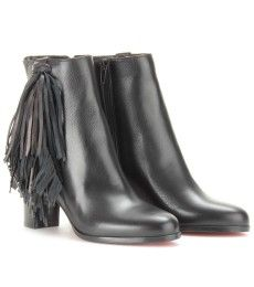 Christian Louboutin - JIMMYNETTA 70 LEATHER ANKLE BOOTS WITH FRINGED TRIM
