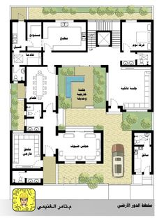 Interior Courtyard House Plans, Country Codes, Fantasy House, Home Design Plans, Architecture Plan, Dream Homes, Location History, Ali, Floor Plans