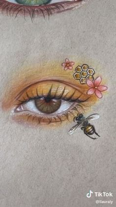 Hazel eye drawing with a bee 🐝 – Drawing 2020 Cool Art Drawings, Pencil Art Drawings, Art Drawings Sketches, Realistic Drawings, Sketch Art, Easy Drawings, Drawings With Colored Pencils, Eye Pencil Drawing, Colorful Drawings