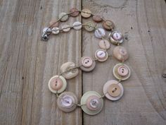 Large Buttons, Vintage Buttons, Button Necklace, Button Jewellery, Pastel Shades, Neutral Colors, Pink Roses, Belly Button Rings, Champagne