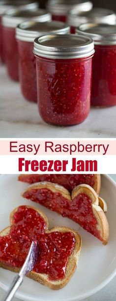 The BEST homemade raspberry jam that requires just four simple ingredients and will last in the freezer for up to one year! The BEST homemade raspberry jam that requires just four simple ingredients and will last in the freezer for up to one year! Raspberry Freezer Jam, Homemade Raspberry Jam, Raspberry Recipes, Recipe For Seedless Raspberry Jam, Freezer Jam Recipes, Jelly Recipes, Canning Recipes, Dip Recipes, Healthy Recipes