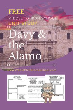 Free Davy Crockett & the Alamo Unit Study for middle to high school homeschool families: printables, hands-on activities, STEAM, Living Books, and more! Social Studies Notebook, Teaching Social Studies, Teaching History, History Education, Teaching Tips, American History Lessons, History For Kids, Texas History, Us History