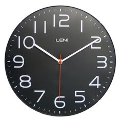 With big bold numerals and slender hands, this monochrome clock will be the focal point in any room. Black Clocks, Clock Movements, Black Exterior, Glass Boxes, Modern Decor, Modern Wall, Classic, Wall Clocks, Monochrome