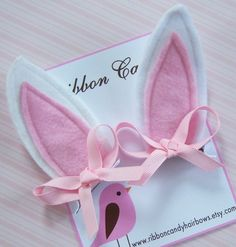 Bunny Ears Set of two felt clips with pink by ribboncandyhairbows, $8.95