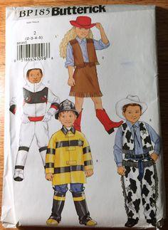 Butterick Childrens Costume BP185 Pattern Spaceman Cowgirl Cowboy Fireman Uncut #Butterick