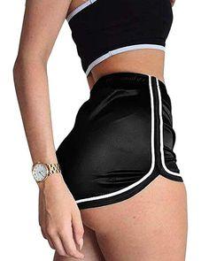 9501e23560 SEASUM Women's Retro Shiny Metallic Fashion Dolphin Running Workout Active  Lounge Shorts Pants Elastic Waist White Outline S
