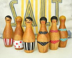 beachy people made from vintage bowling pins