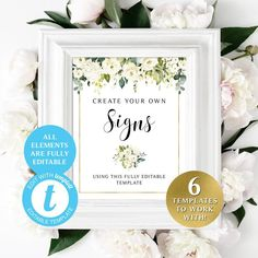 #printable #diy #weddingprintables #createyourown #signs #wedding #shower #decor #template #printables #greenery #whitewedding #whiteflowers #personalized #templett #diy Wedding Programs, Wedding Signs, Floral Theme, Cream Roses, Bridal Showers, White Flowers, Greenery, Create Your Own, Birthdays