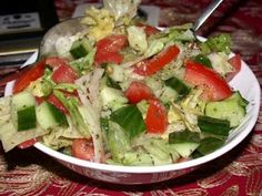 Salata - Lebanese salad. We would eat this almost every day with dinner. The dressing makes a great base to any salad.