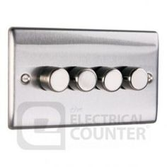 Brushed Stainless Steel Dimmer Switch 4 Gang 400w | BG Nexus NBS84P £30