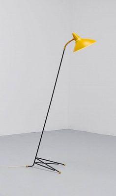 Svend Aage Holm Sørensen; Enameled Metal and Brass Floor Lamp for ASEA, 1950s.