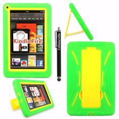Cellularvilla Tm Combo Case for Amazon Kindle Fire Green Yellow Hybrid Armor Kickstand Hard Soft Case Cover+cellularvilla Branded Wristband. Note: This Case Is Only Compatible with Amazon Kindle Fire and Will Not Fit Kindle Fire Hd. CellularVilla http://www.amazon.com/dp/B009EV3WZ6/ref=cm_sw_r_pi_dp_eGSwub19X13GV