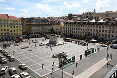 PORTUGAL: LISBON. Praça da Figueira  is a large square in the centre of Lisbon. It is part of the Baixa Pombalina, the area of the city reurbanised after the 1755 Lisbon Earthquake.