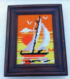 Crewel Sailboat Wall Hanging Needlepoint 1970s Orange and Yellow Sunset Kitsch Kitschy Decor Picture Art Hippie 70s Endless Summer