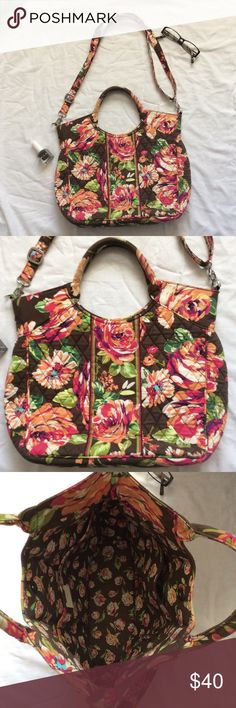 Very Bradley Brown/Pink Floral Purse Super cute, great condition! This is one of their larger purses, not carried long! Adjustable/removable shoulder straps. Body: 12 inches high, 13.5 inches wide. No trades! Vera Bradley Bags