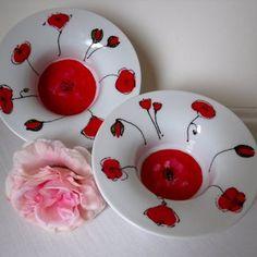 """Lot 2 bols/coupes en porcelaine, peints à la main """"collection coquelicots"""""""