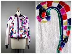 RETRO Whimsical Sequin Jacket // Geometric Argyle Checkered Bright Sequined Bomber Jacket M / L