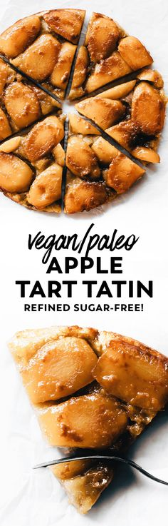 Sticky-sweet caramelized apples baked on top of a tender almond flour crust for a healthier take on Apple Tart Tatin. Think: apple pie in pizza form! #vegan #paleo #dessert #apples