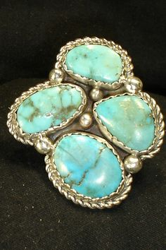 4 STONE NAVAJO STERLING SILVER TURQUOISE RING SZ 8.5 NATIVE AMERICAN DEAD PAWN in Jewelry & Watches | eBay