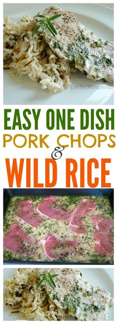 This easy one dish pork chops and wild rice recipe with become a family favorite. It's the perfect kid friendly meal for busy nights and takes only about 15 minutes to get ready to go in the oven. If you're looking for a meal that will please even little Wild Rice Recipes, Rice Recipes For Dinner, Pork Recipes, Healthy Recipes, Yummy Recipes, Recipies, Pork Chops And Wild Rice Recipe, Budget Family Meals, Evening Meals