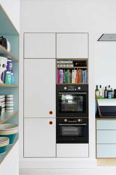Kitchen Decor, Kitchen Design, Home Kitchens, Bookcase, Shelves, Color, Home Decor, Cuisine Design, Shelving