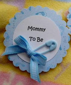 diaper bouquet for baby shower for boy | Baby Shower Corsage with Diaper Pin and Ribbon...Mom to Be..Dad to Be ...
