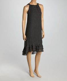 Take a look at this Shelby & Palmer: Black & White Polka Dot Yoke Dress by Shelby and Palmer on #zulily today!